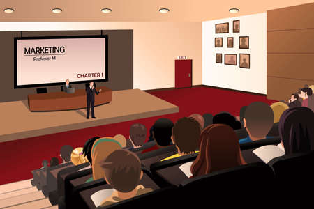 A vector illustration of college students listening to the professor in the auditorium