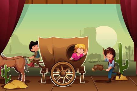 niños actuando: Una ilustración vectorial de los niños que realizan en un escenario