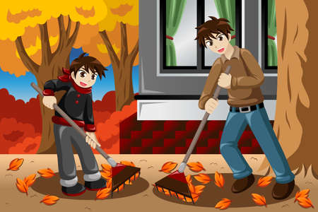 A vector illustration of father and son raking leaves in the garden during Fall season Ilustracja