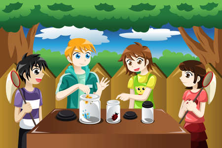 A vector illustration of kids catching bugs and put them in a jar