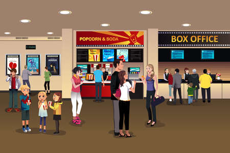 A vector illustration of scene in the movie theater lobby 일러스트