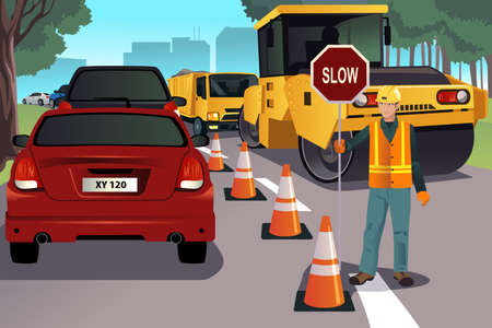 A vector illustration of a flagger working on road construction