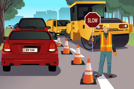 Een vector illustratie van een flagger werken aan de aanleg van wegen Stock Illustratie