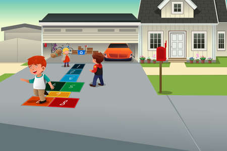 A vector illustration of kids playing hopscotch on the driveway of a suburban house