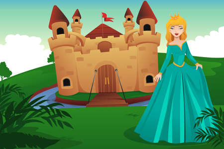A vector illustration of princess in front of her castle Vector