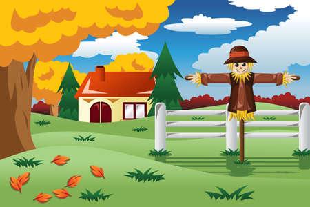 espantapajaros: Una ilustración vectorial de espantapájaros en la temporada de otoño