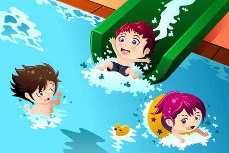 ni�os divirtiendose: Una ilustraci�n vectorial de ni�os felices que se divierten en la piscina Vectores