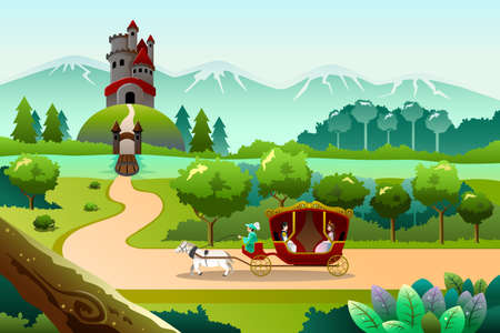 A vector illustration of prince and princess riding a wagon pulled by a horse going to a castle