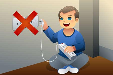 Een vector illustratie van het gevaar van een kind spelen met een stopcontact