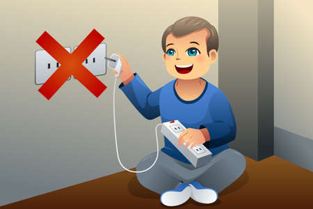 A vector illustration showing the danger of a kid playing with an electrical outlet