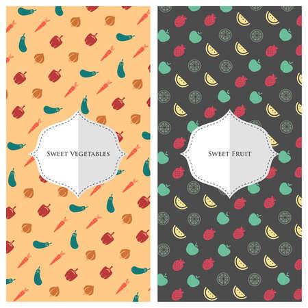 Een vector illustratie van fruit groente behang ontwerpen Stock Illustratie