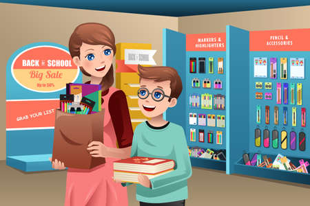 A vector illustration of a mother and son buying school supplies in a store Vector