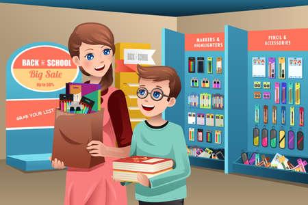 Ilustracji wektorowych z matka i syn kupno przyborów szkolnych w sklepie Ilustracje wektorowe