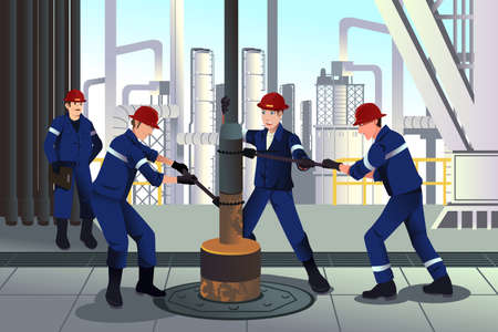 A vector illustration of Oil and gas workers Stock Illustratie
