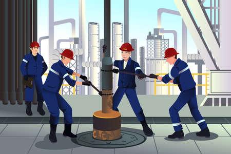 trabajador petrolero: Una ilustración vectorial de los trabajadores de petróleo y gas Vectores