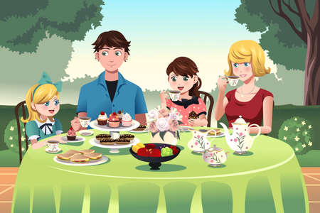 A vector illustration of family having a tea party outdoor together Vector
