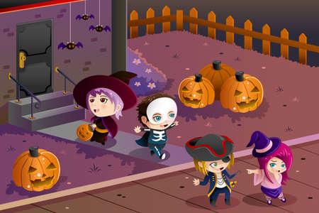going out: Una illustrazione vettoriale di ragazzini che indossano costumi di Halloween andando per trucco o trattare Vettoriali