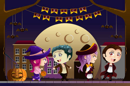 A vector illustration of Little kids wearing Halloween costumes going out for trick or treat Vector