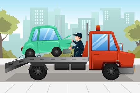 Una ilustración vectorial de camión de remolque que remolca un coche averiado
