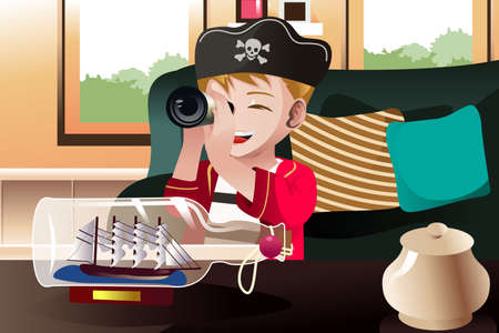 A vector illustration of boy dressed in a pirate outfit holding a telescope looking at a ship in a bottle Vector