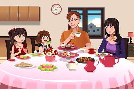 Une illustration de vecteur de la famille ayant une partie de thé à l'intérieur ainsi que