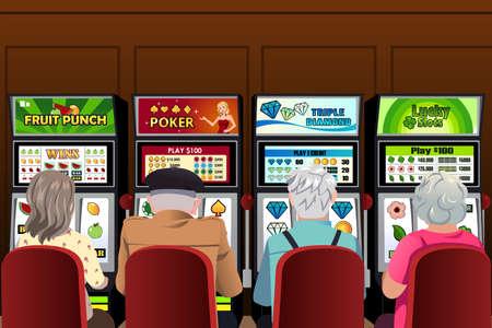 tragamonedas: Una ilustraci�n vectorial de las personas mayores que juegan a las m�quinas tragaperras en el casino