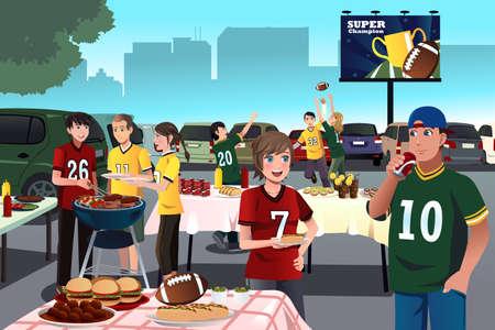 pelotas de futbol: Una ilustraci�n vectorial de los aficionados al f�tbol americano que tiene un partido port�n trasero