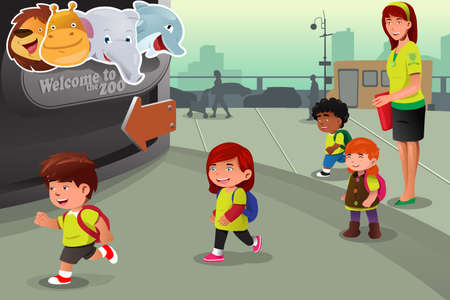 A vector illustration of school field trip to a zoo