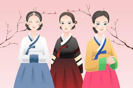 Een vector illustratie van vrouwen het dragen van traditionele Koreaanse outfit