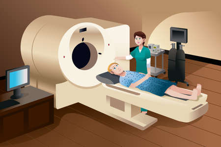 A vector illustration of patient lying down on a scan machine with a nurse standing next to him
