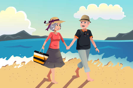 romantic travel: A vector illustration of senior couple walking on the beach
