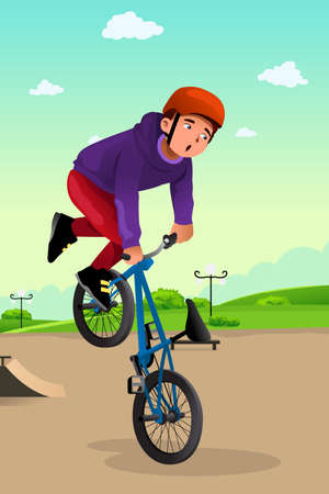 skatepark: A vector illustration of boy doing stunt on a BMX bike Illustration