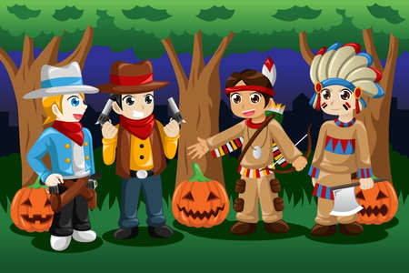A vector illustration of boys dressed up as cowboys and Native Americans for Halloween Vector
