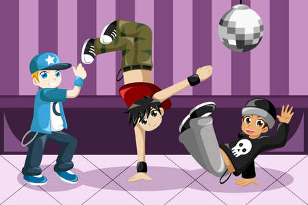 A vector illustration of kids dancing hip hop