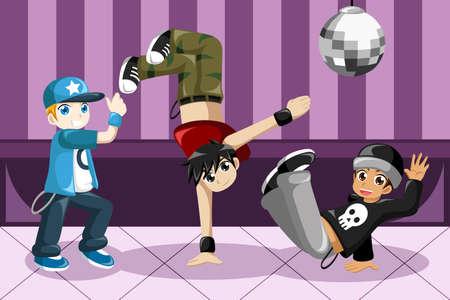 bailarin hombre: Una ilustración vectorial de los niños que bailan hip hop