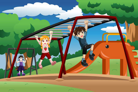 A vector illustration of happy kids playing on a monkey bar at the playground