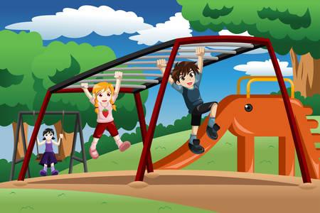 Una ilustración vectorial de niños felices jugando en una barra de mono en el parque infantil
