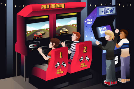kids playing video games: A vector illustration of boys playing car racing in an arcade
