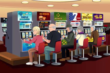 tragamonedas: Una ilustración vectorial de las personas mayores que juegan a las máquinas tragaperras en el casino