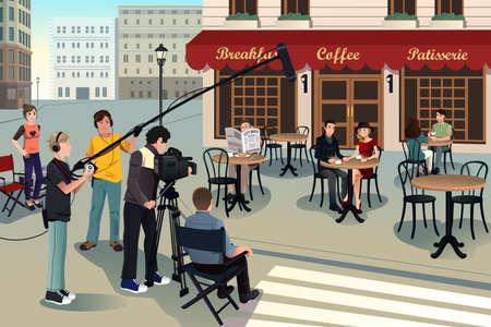 filmacion: Una ilustración vectorial de escena de la producción de películas Vectores