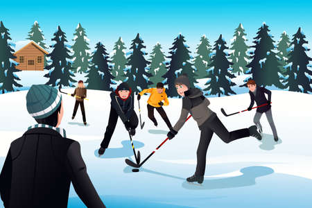 ice hockey player: A vector illustration of men playing ice hockey Illustration