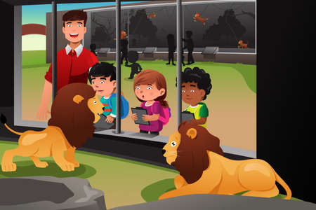 zoos: A vector illustration of kids on a school field trip to the zoo Illustration