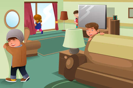 A vector illustration of kids playing hide and seek