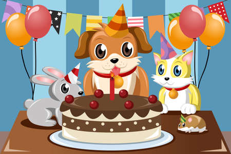 A vector illustration of pets birthday