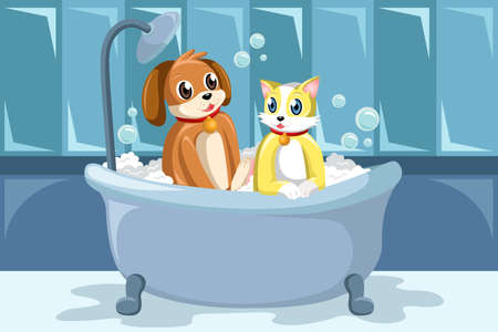 A vector illustration of pets washing themselves in the bathtub