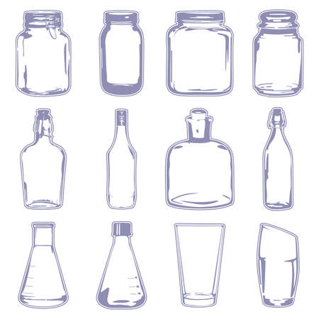 A vector illustration of different empty containers Çizim