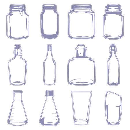 Een vector illustratie van verschillende lege containers