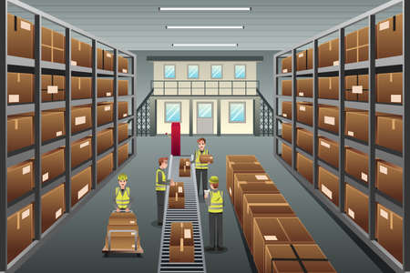 A vector illustration of distribution warehouse viewed from above