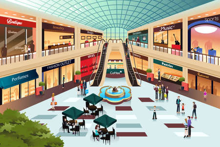 comprando: Una ilustraci�n vectorial de escena en el interior del centro comercial Vectores