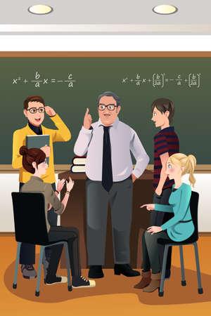 estudiantes de colegio: Una ilustraci�n vectorial de los estudiantes universitarios que tienen una discusi�n con su profesor en el aula